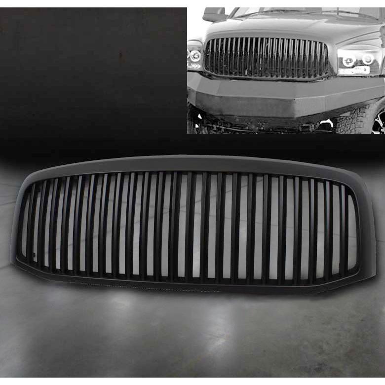fit 06 07 08 dodge ram 1500 2500 3500 black hood grille grill abs vertical bar ebay. Black Bedroom Furniture Sets. Home Design Ideas