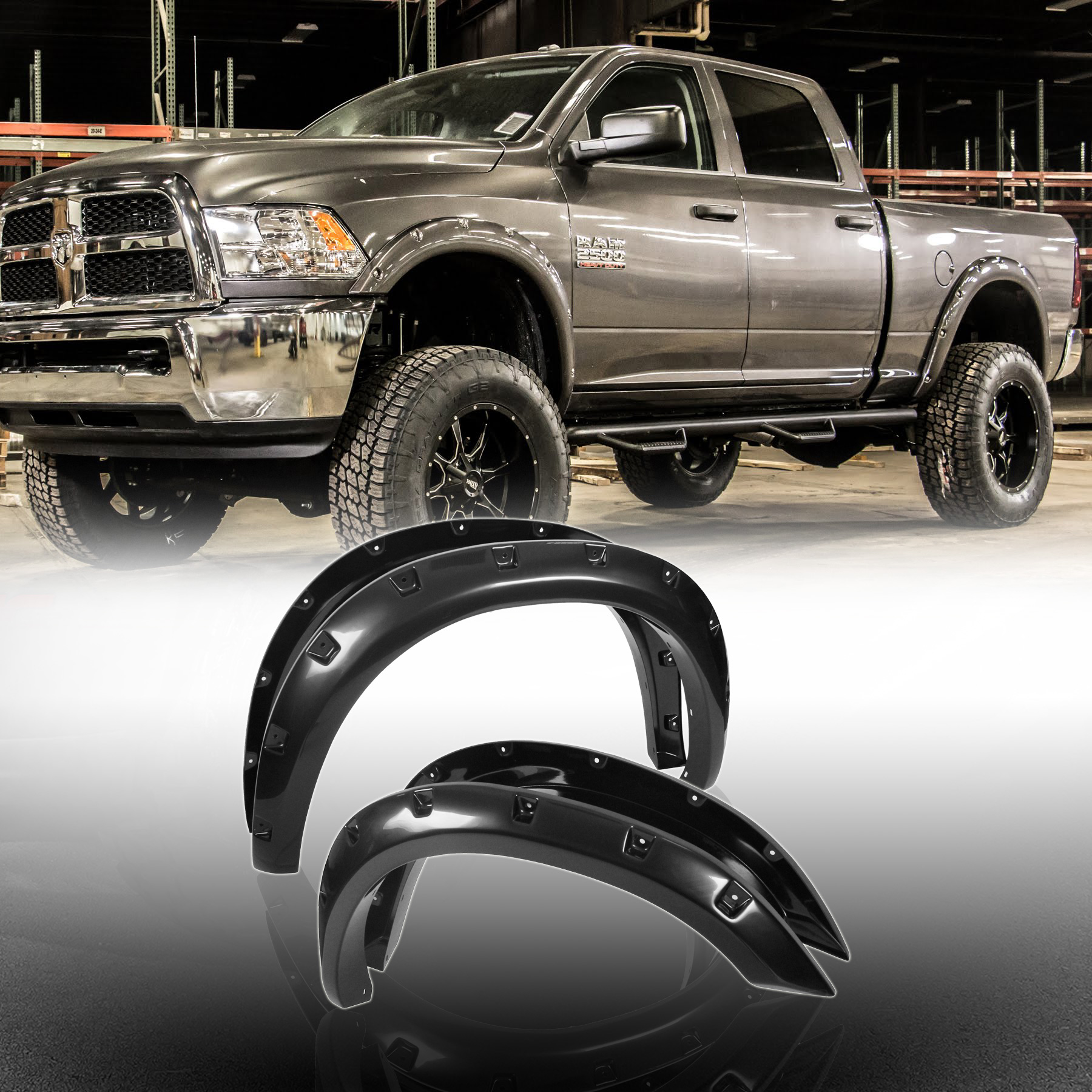 2010 Dodge Ram 2500 Regular Cab Exterior: 10-16 Front+Rear Dodge Ram 2500/3500 Smooth Blk ABS Pocket