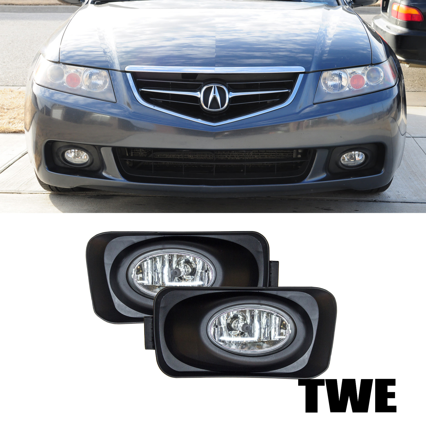 Fit 04-05 Acura TSX JDM Clear Lens Driving Fog Lights+H11
