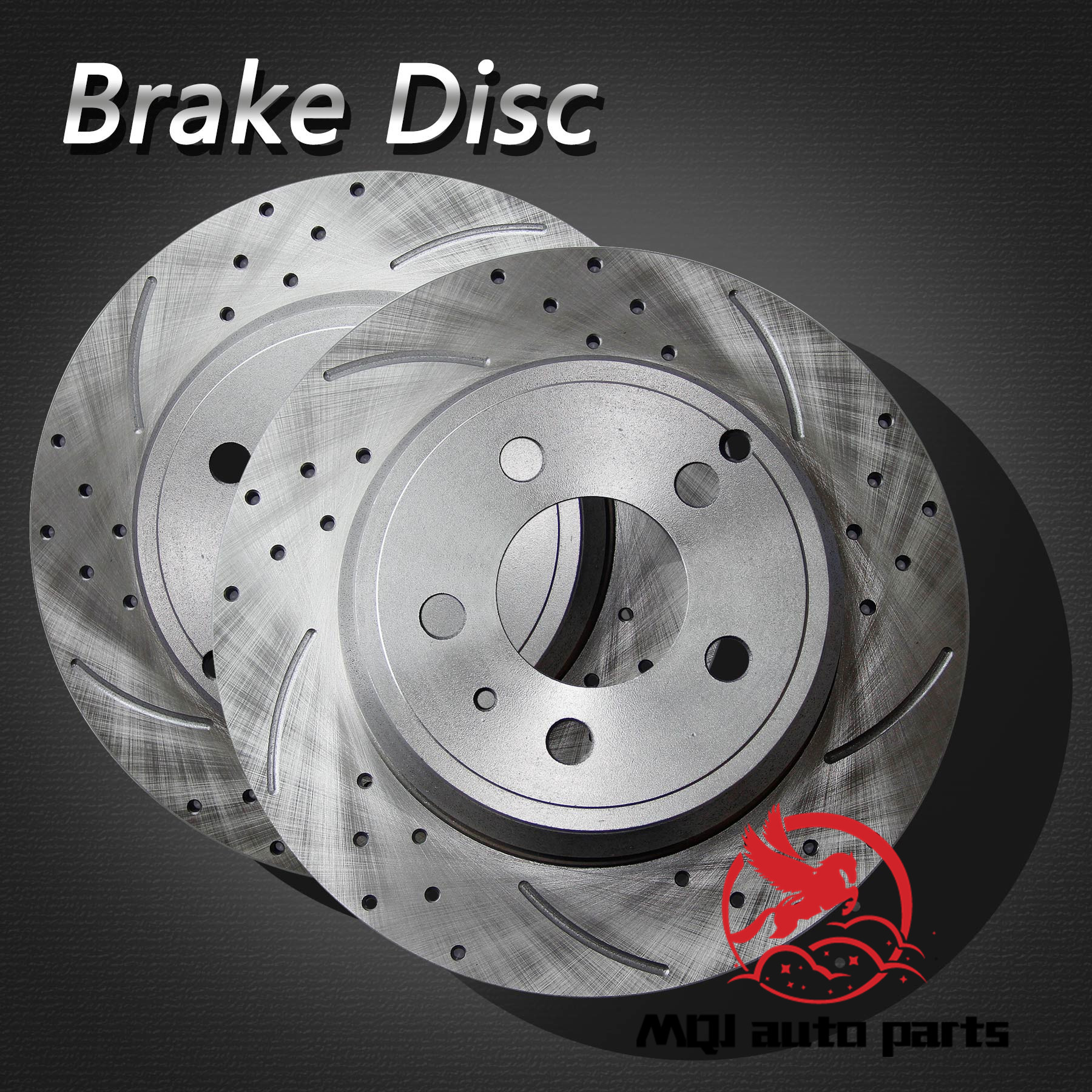 2pcs Rear Left Right Drilled Slotted Solid Brake Rotors