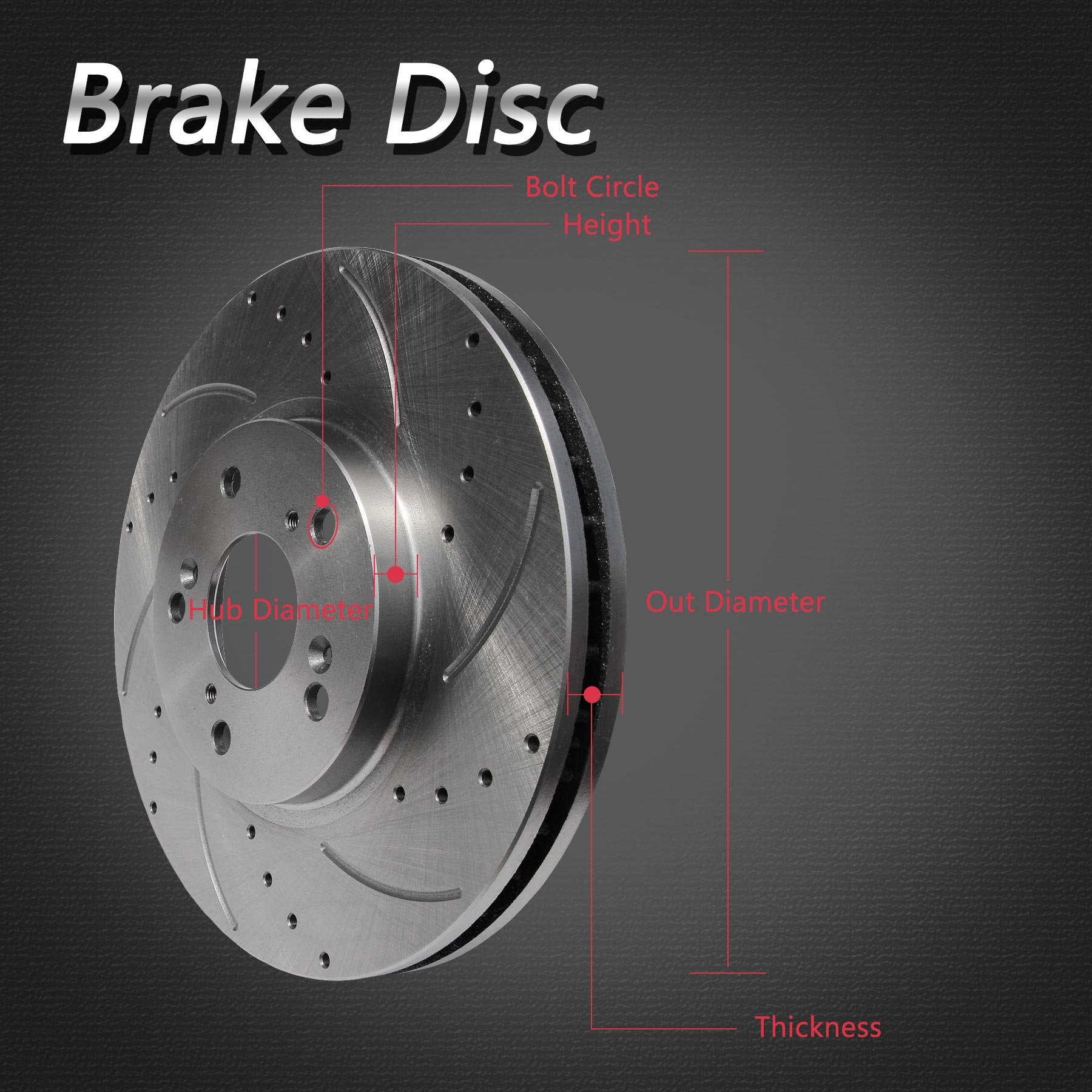 Brake Rotor Material : Pcs rear left right drilled slotted solid brake rotors
